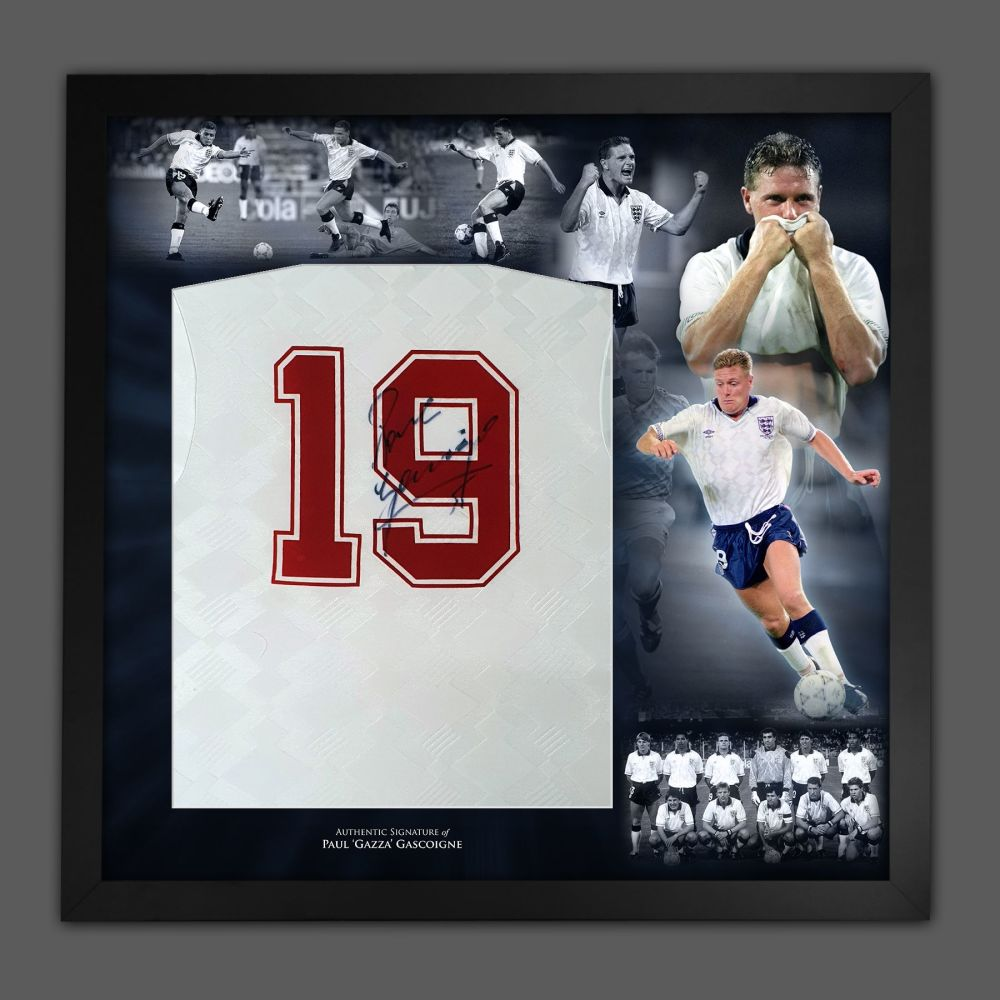 Paul Gascoigne Signed England no 19 Football shirt In A Framed Picture Mo