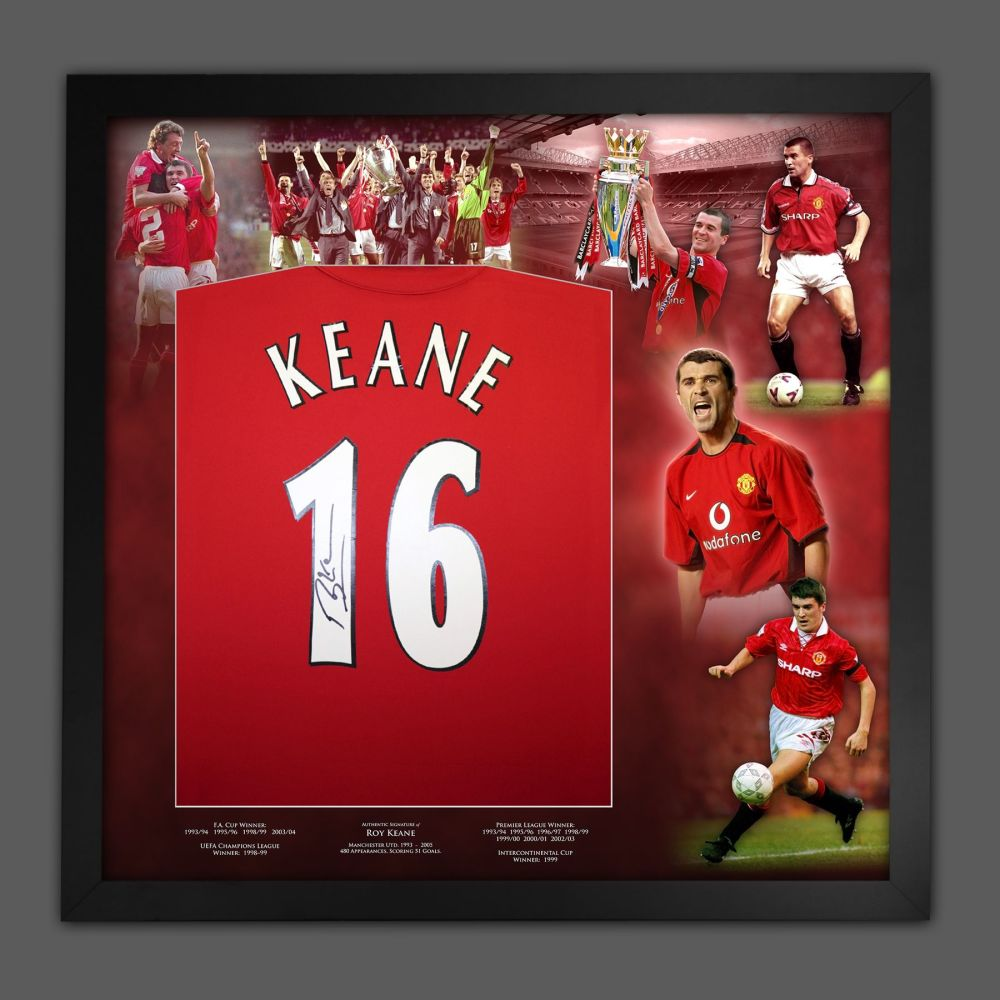 Roy Keane  Hand Signed Manchester United Football Shirt In Framed Picture