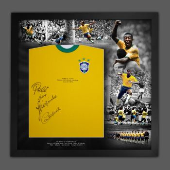 Brazil Football Shirt Signed By 4 players Framed In A Picture  Mount Presentation