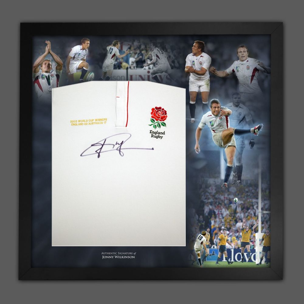 Jonny Wilkinson Hand Signed And  Framed England Rugby Shirt In A Picture M