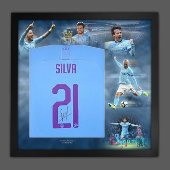 David Silva Signed Manchester City Football Shirt In A Picture Mount Presentation