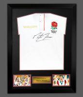 Martin Johnson England Rugby Signed Shirt In A Framed Presentation