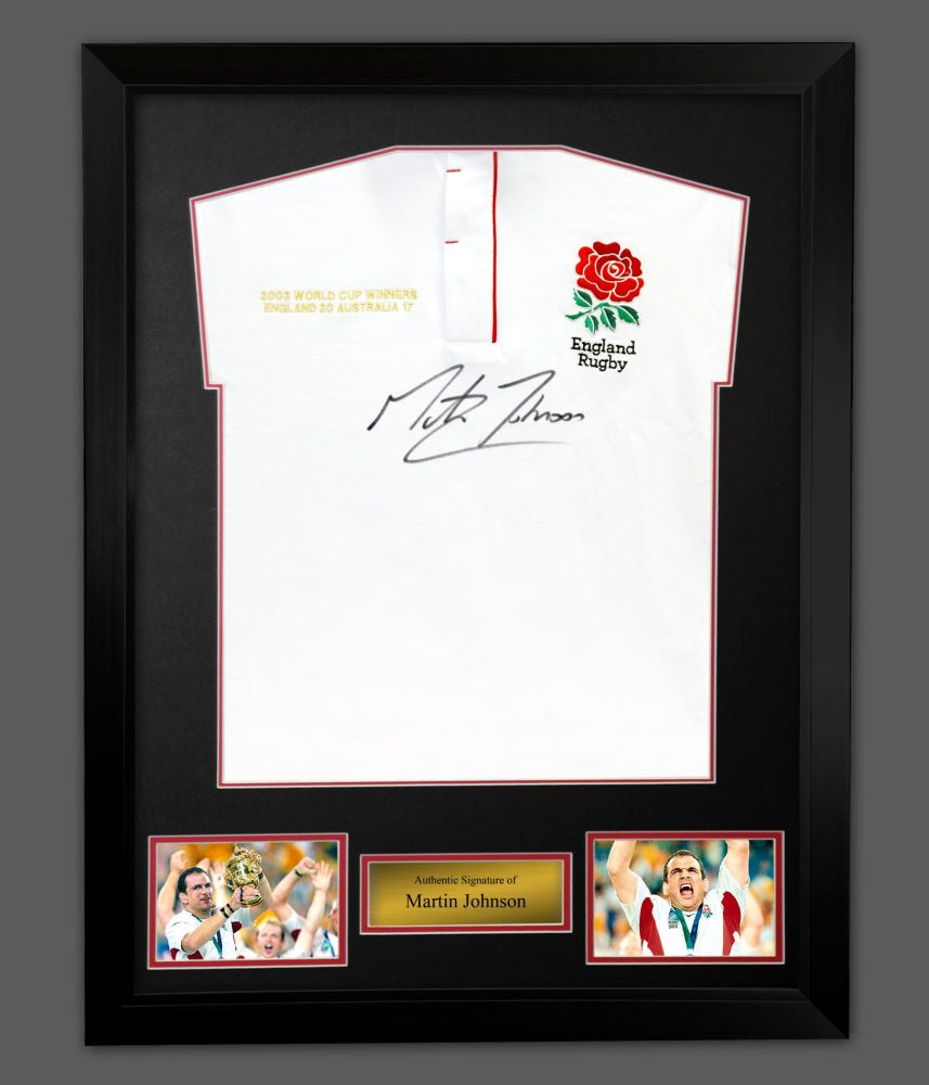 Martin Johnson England Rugby Signed Shirt In A Framed Presentation : A : S