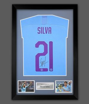 David Silva Signed Manchester City Signed Football Shirt In A Framed Presentation