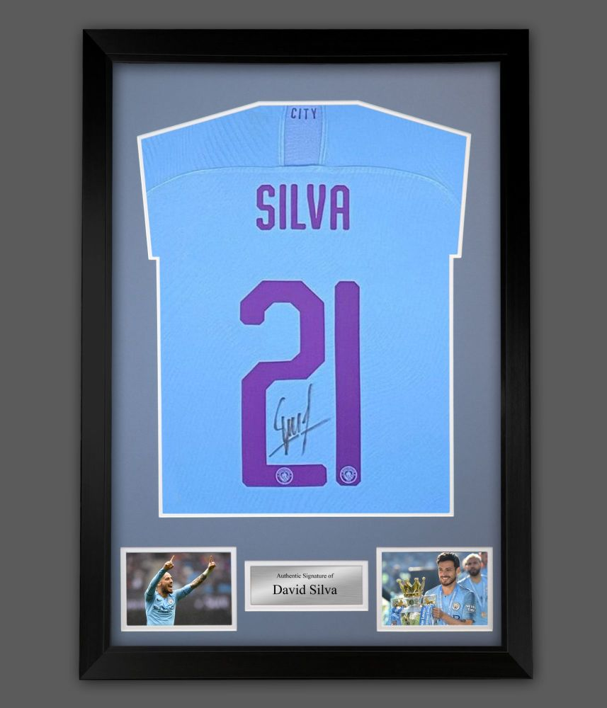 David Silva Signed Manchester City Signed Football Shirt In A Framed Prese