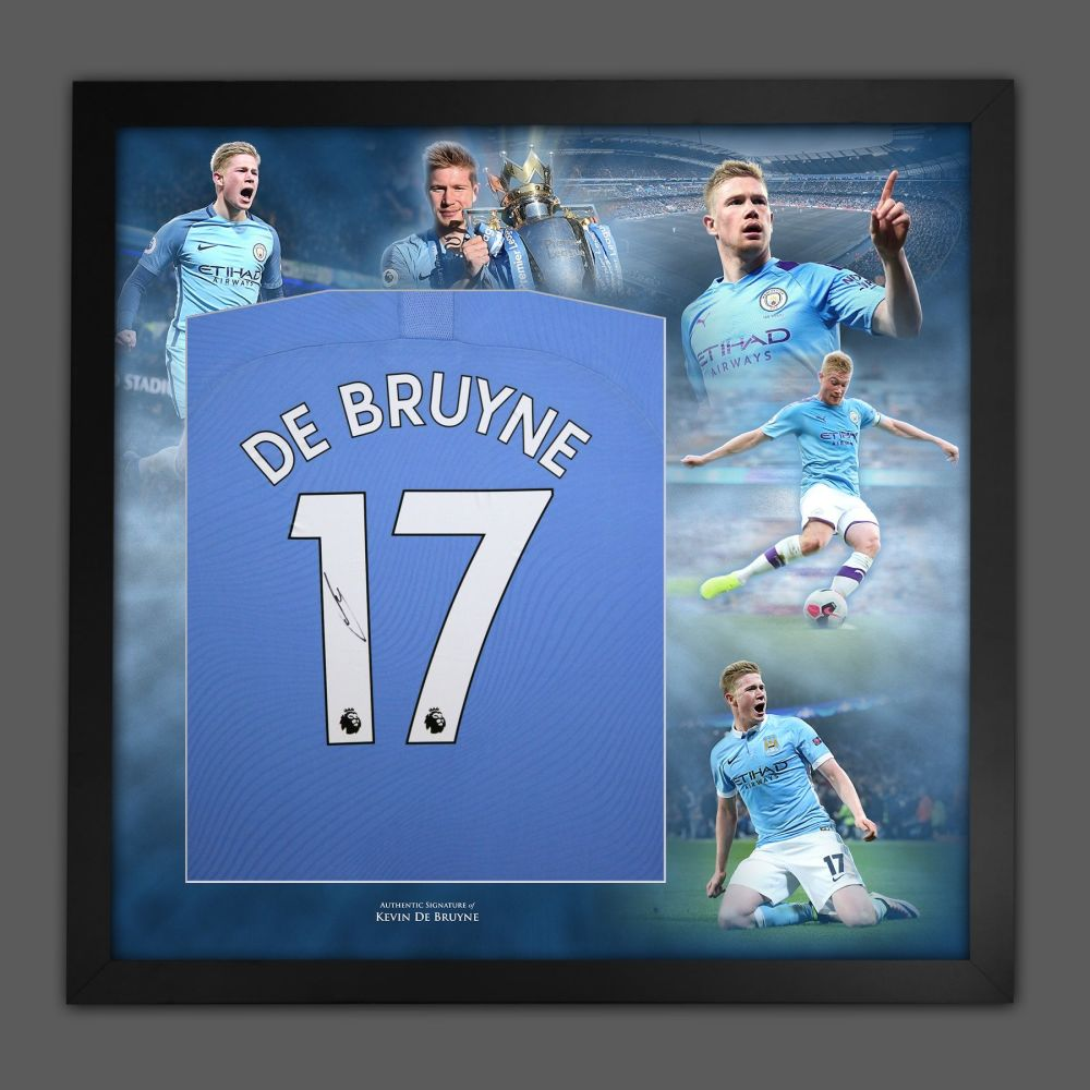 Kevin De Bruyne Signed Manchester City Football Shirt In A Picture Mount P