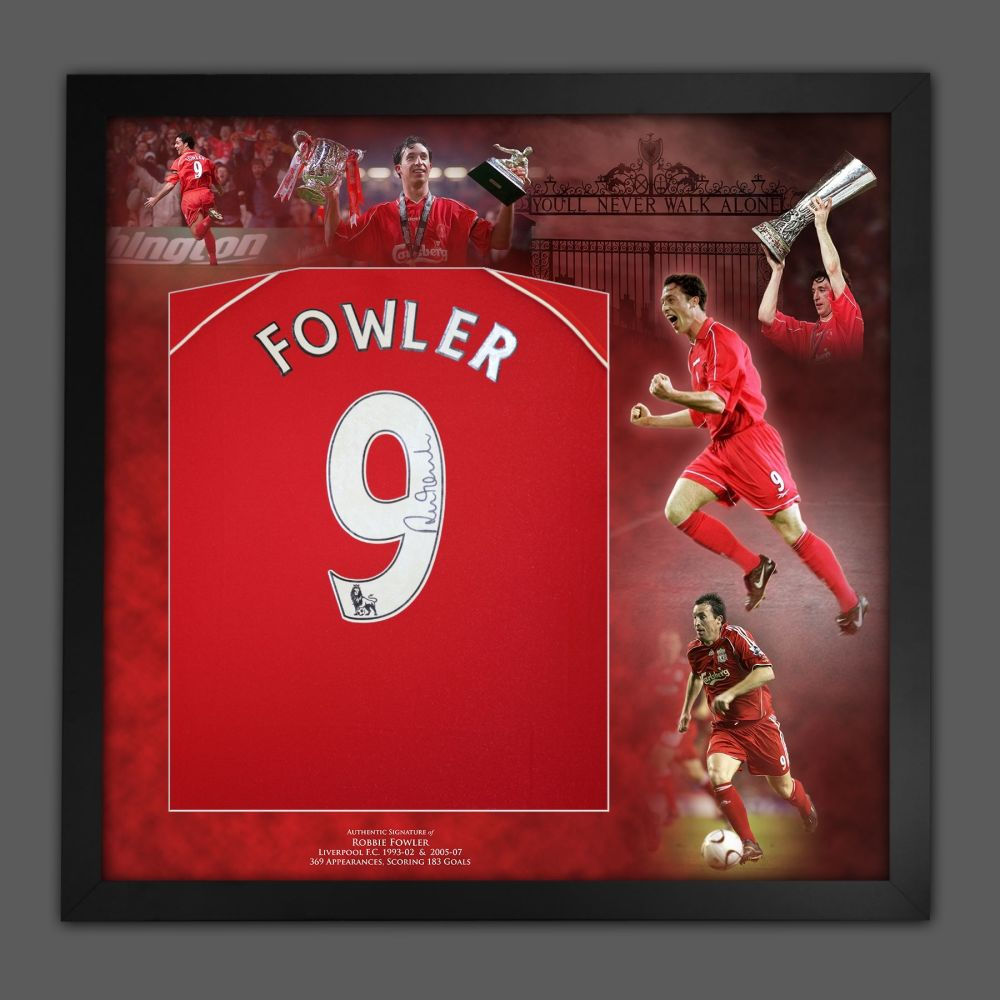 Robbie Fowler Signed Liverpool Fc Football Shirt In A Picture Mount Presen