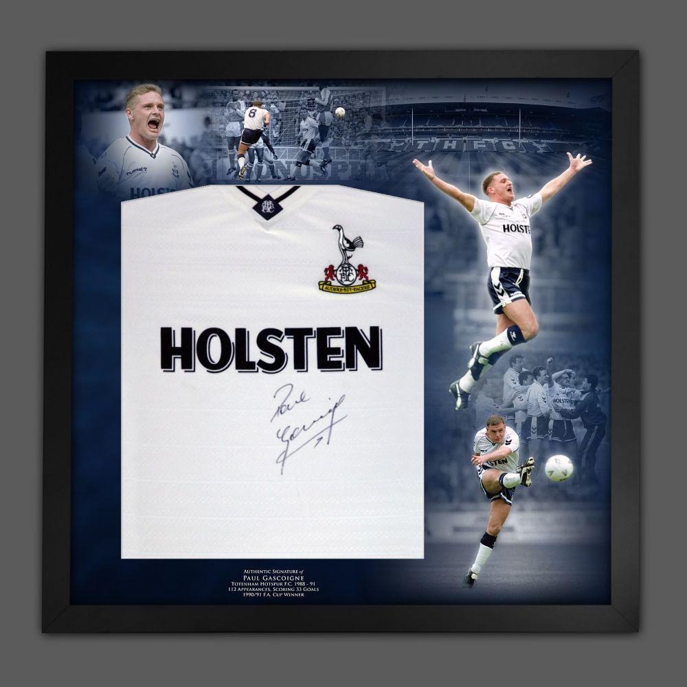 Paul Gascoigne Signed Tettenham Hotspurs Football shirt In A Framed Pictu