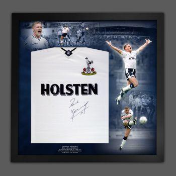 Paul Gascoigne Signed Tottenham Hotspurs Football shirt In A Framed Picture Mount Presentation::
