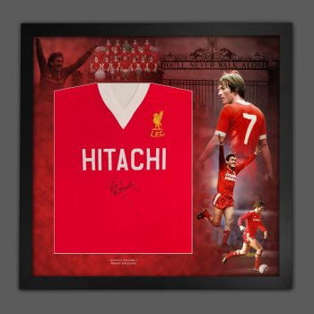 Kenny Dalglish Signed Liverpool Hitachi Football Shirt In A Picture Mount Presentation : Star Deal