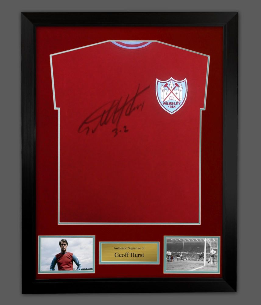Geoff Hurst Hand Signed West Ham United  Football Shirt In A Framed Prese