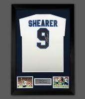 Alan Shearer  Signed England Euro 96 Football Shirt In A Framed Presentation