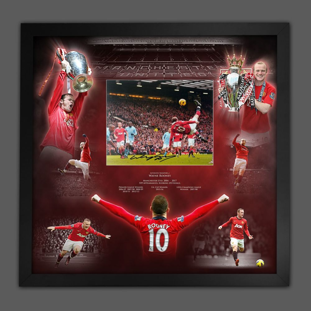Wayne Rooney Signed  Manchester United Football Photograph In A Framed Pi