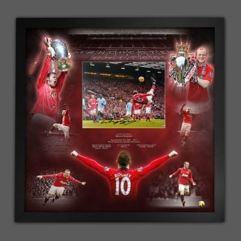 Wayne Rooney Signed  Manchester United Football Photograph In A Framed Picture Mount  Presentation