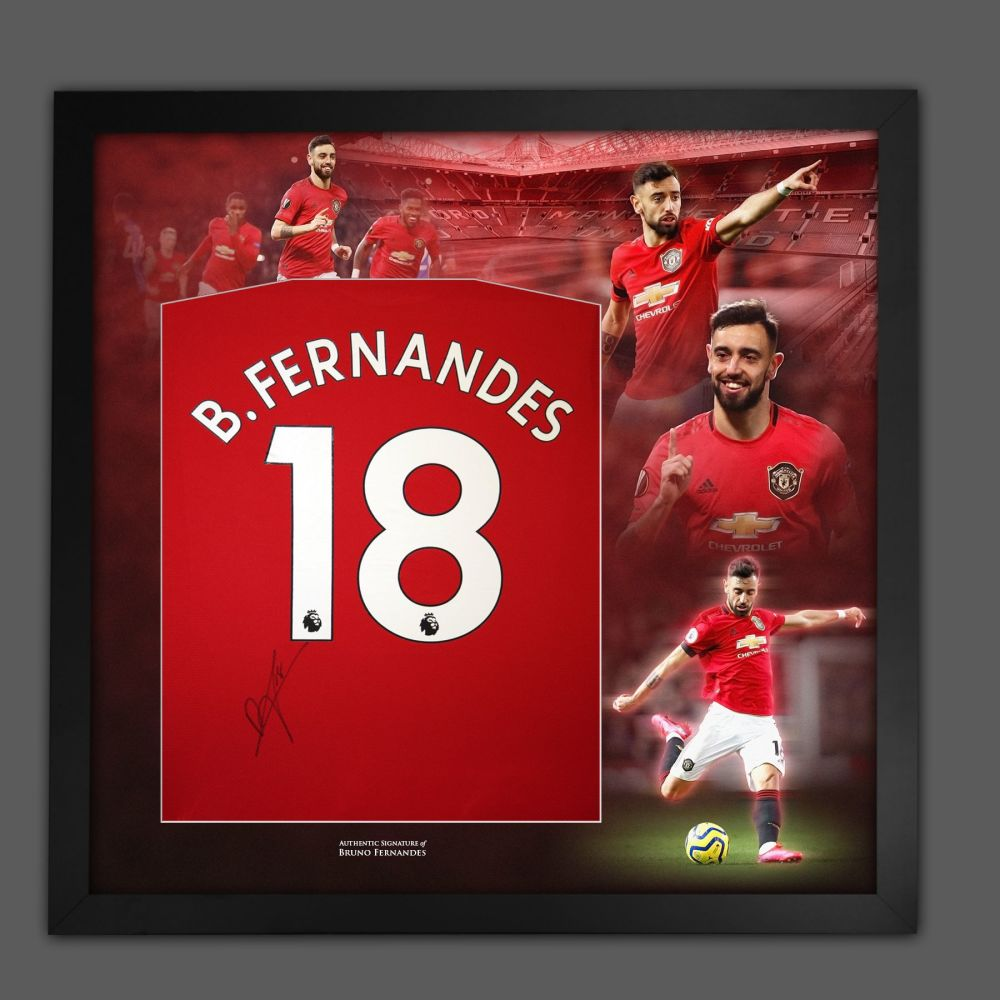 Bruno Fernandes Signed Manchester Unted  Football Shirt Framed In A Picture