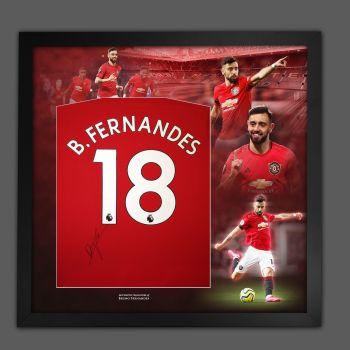 Bruno Fernandes Signed Manchester Unted  Football Shirt Framed In A Picture Mount Presentation
