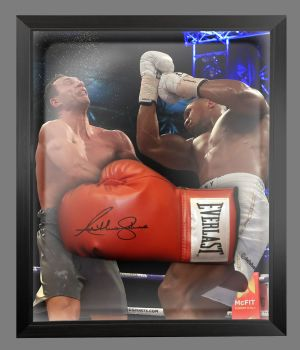 Anthony Joshua Hand Signed Red Everlast Boxing Glove In A Dome Frame : B