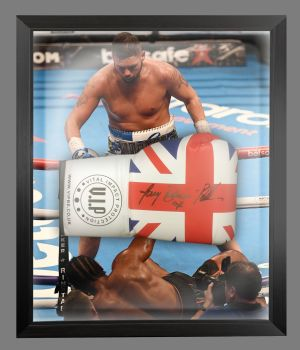 Tony Bellew  Signed Union Jack  Vip  Boxing Glove In A Dome Frame.  Full Signature