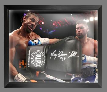 Tony Bellew  Signed  Black  Vip  Boxing Glove In A Dome Frame.  Full Signature