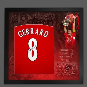 Steven Gerrard Signed Liverpool Fc 2005 No 8  Football Shirt Framed In A Picture Mount Display