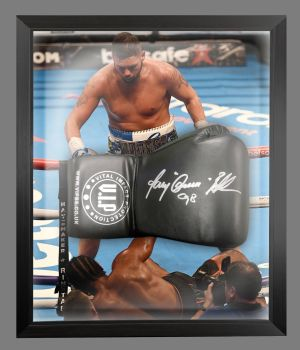 Tony Bellew  Signed  Black  Vip  Boxing Glove In A Dome Frame.  Full Signature : A