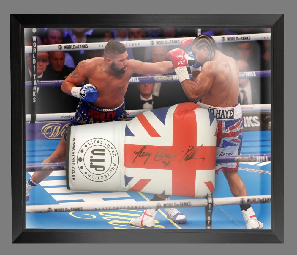 Tony Bellew  Signed Union Jack  Vip  Boxing Glove In A Dome Frame.  Full