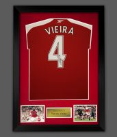 Patrick Vieira Signed Arsenal Fc Football Shirt In A Framed Presentation