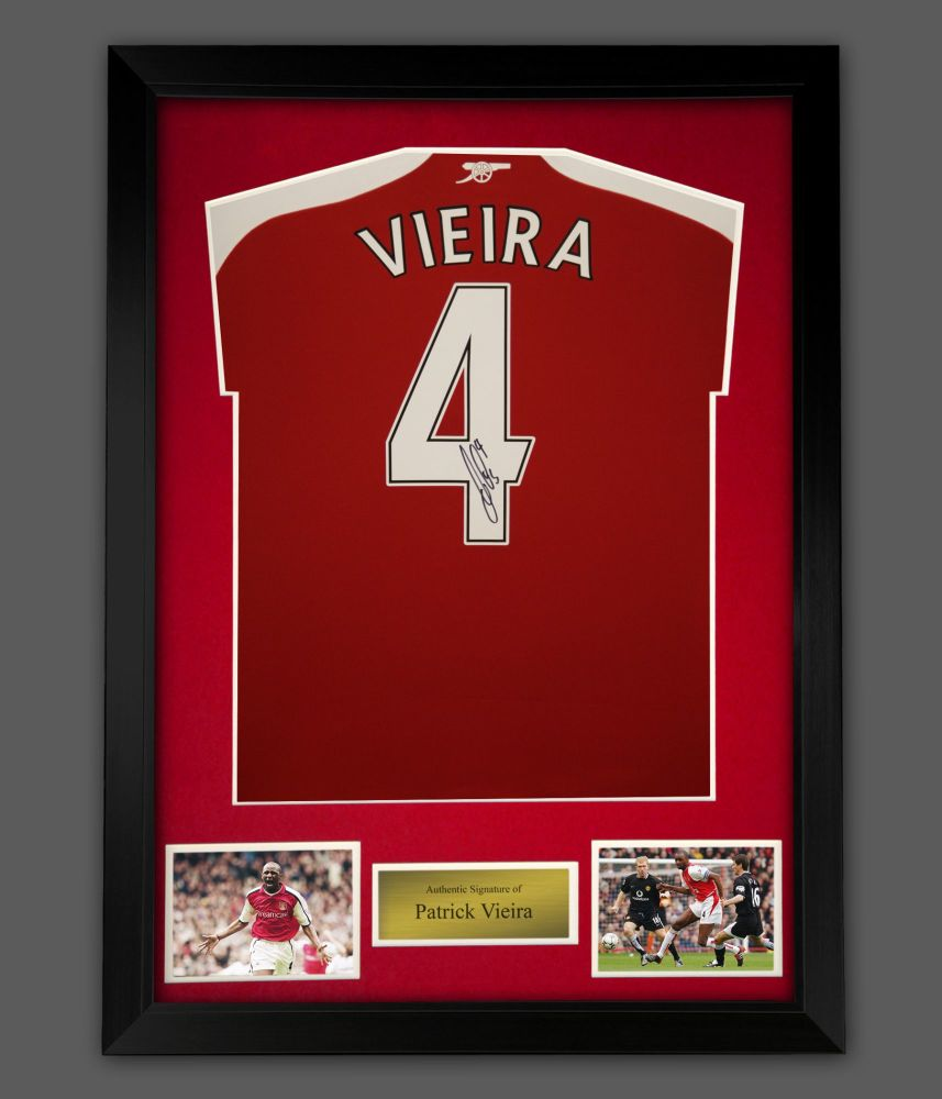 Patrick Vieira Signed Arsenal Fc Football Shirt In A Framed Presentation