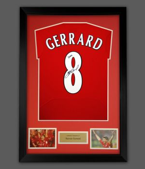 Steven Gerrard Signed Liverpool Fc 2005 No  Football Shirt In A Frame : YNWA