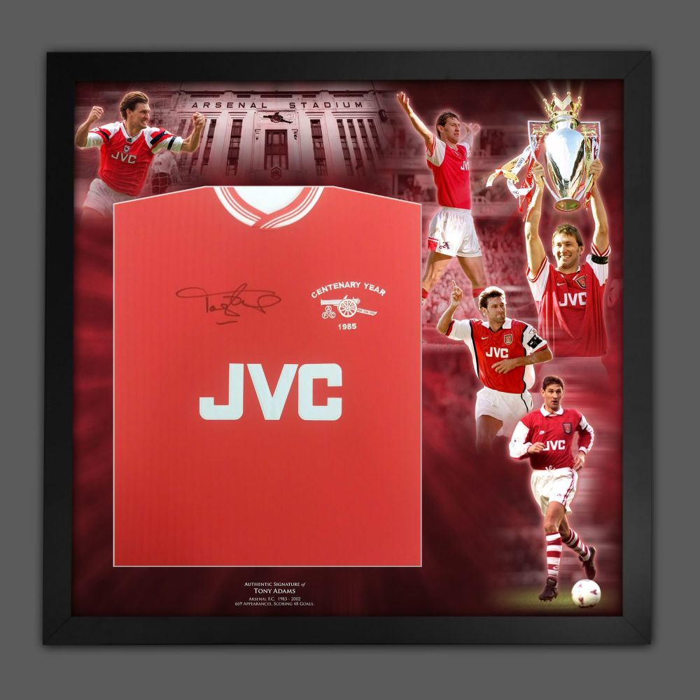Tony Adams Arsenal Fc  Football Shirt In A Framed  Picture Mount Presentat