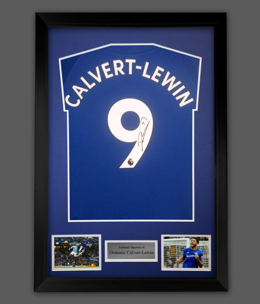 Dominic Calvert-Lewin Signed Everton Football Shirt In frame Presentation