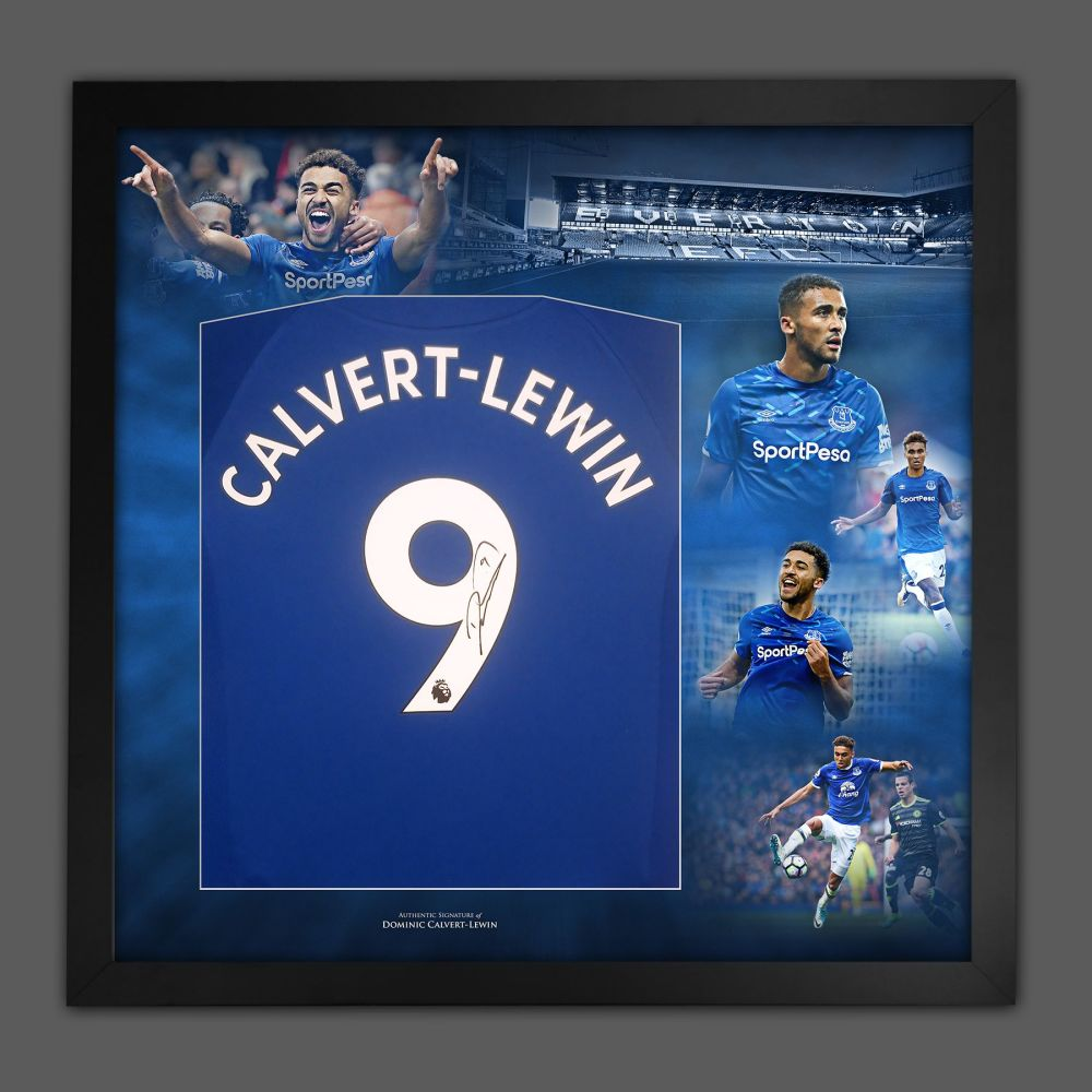 Dominic Calvert-Lewin Signed Everton Football Shirt In A Picture Mount Pr