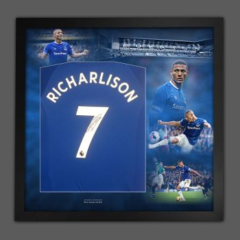 Richarlison de Andrade Signed Everton Football Shirt In A Picture Mount Presentation