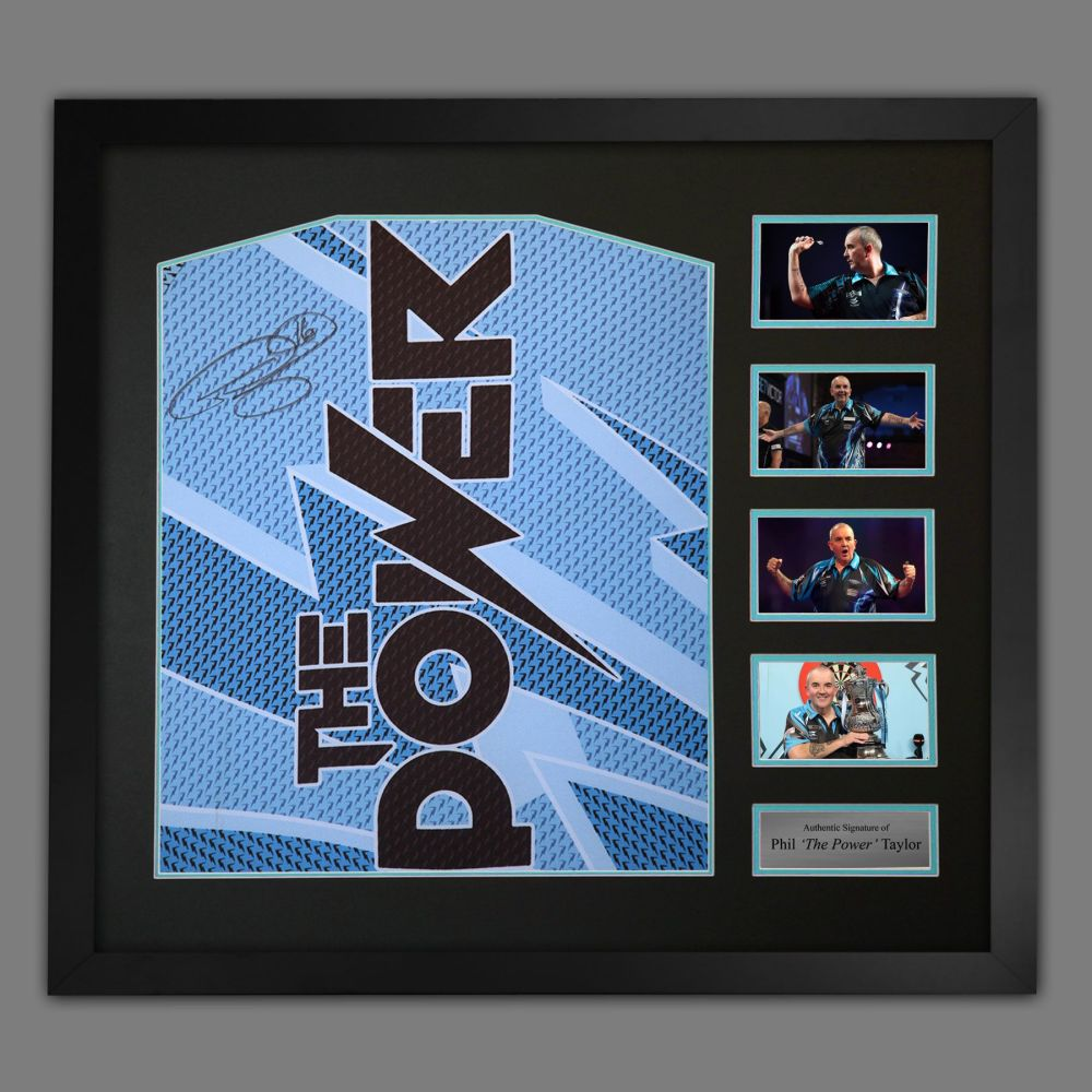 Phil Taylor Signed Official Target Darts Shirts In A large Frame Presentat