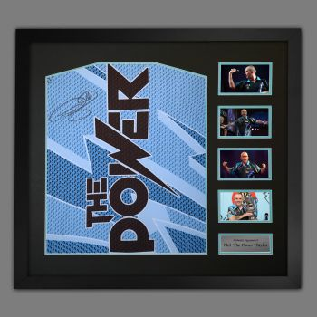 Phil Taylor Signed Official Target Darts Shirts In A large Frame Presentation