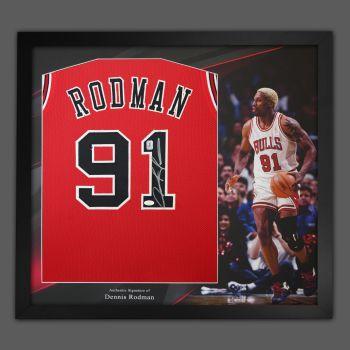 Dennis Rodman Hand Signed Red  Chicago Bulls Vest In Framed In A Picture Mount Presentation: