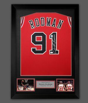 Dennis Rodman Signed  Red Chicago Bulls Vest  In A Framed Presentation
