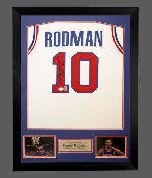 Dennis Rodman Signed Detroit Pistons Vest In A Framed Presentation