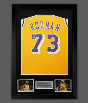 Dennis Rodman Signed LA Lakers  Vest In A Framed Presentation