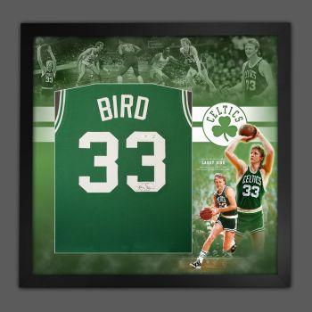 Larry Bird Hand Signed Boston Celtics Vest In Framed In A Picture Mount Presentation