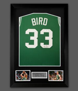 Larry Bird Signed  Boston Celtics Vest  In A Framed Presentation