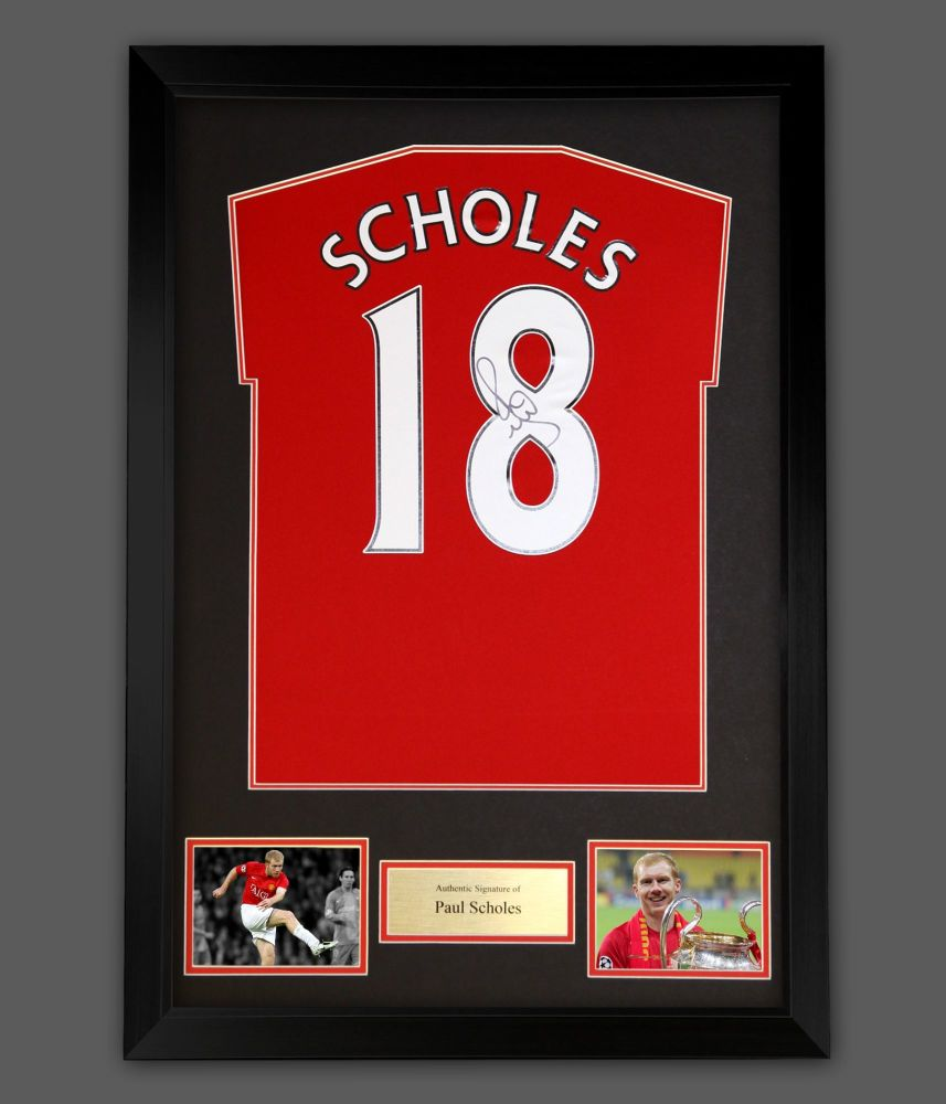 Paul Scholes Signed  No 18 Manchester United Football Shirt In A Framed P