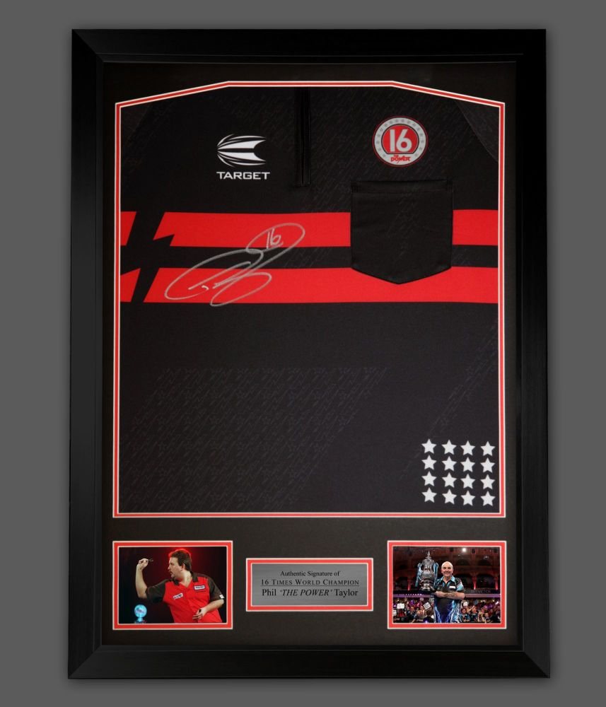 Phil Taylor  Front Hand Signed  New 2021 Official Darts Shirt In A Framed
