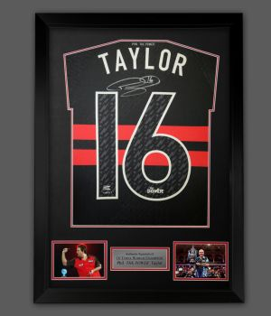 Phil Taylor  Back  Hand Signed  New 2021 Official Darts Shirt In A Framed Presentation.