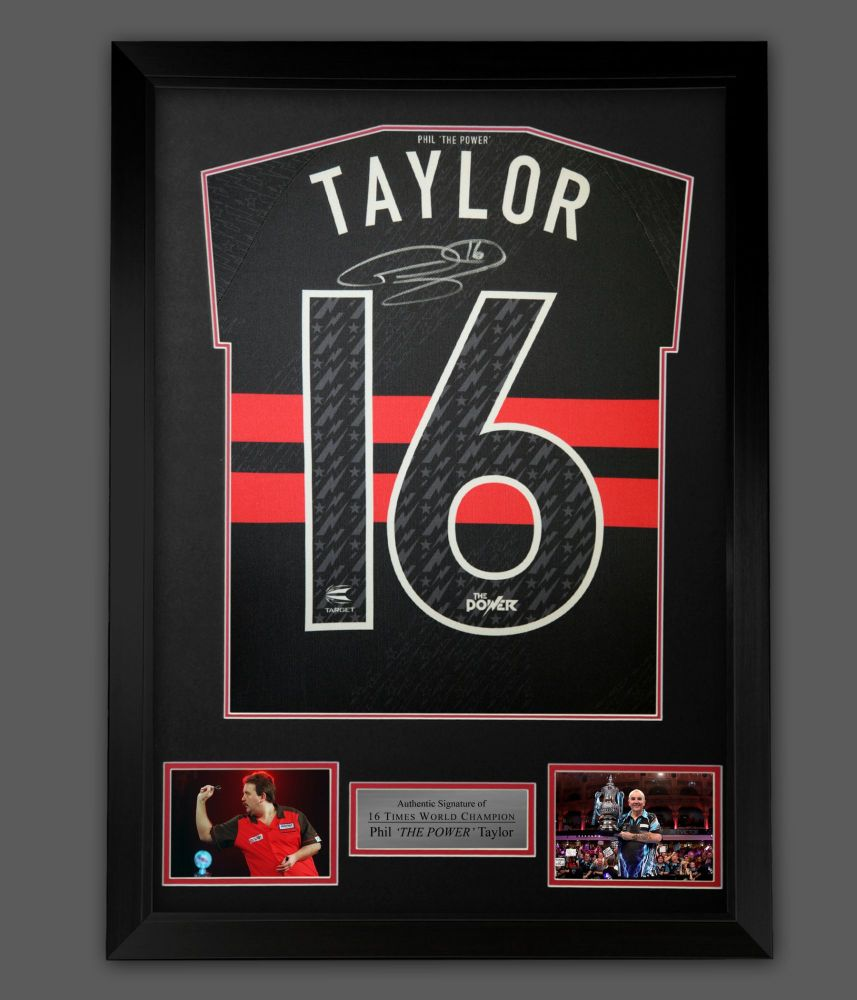 Phil Taylor  Back  Hand Signed  New 2021 Official Darts Shirt In A Framed