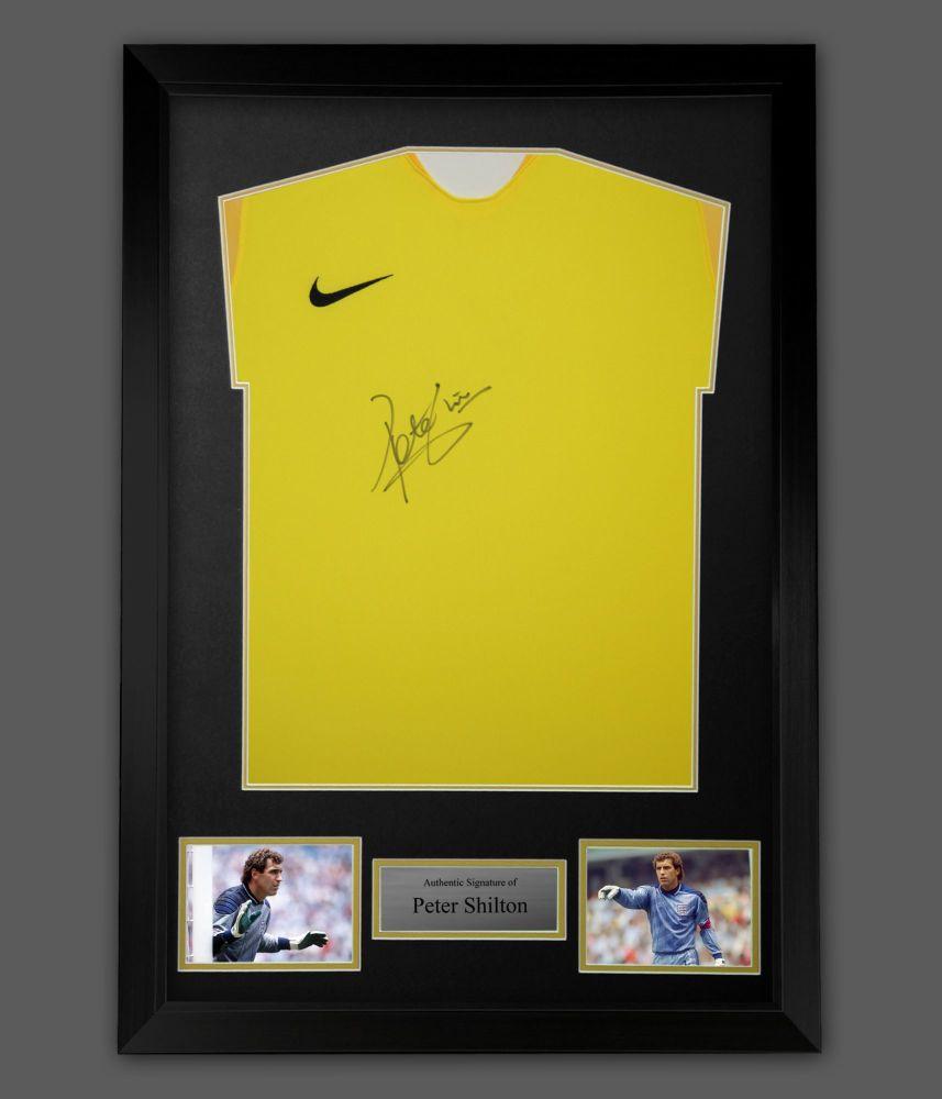 Peter Shilton Hand Signed Nike Goalkeeper Football Shirt  In A Framed Pre