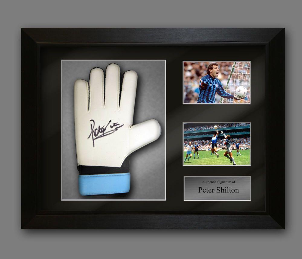 Peter Shilton Hand Signed Predator Goalkeeper Glove  In A Framed Presenta