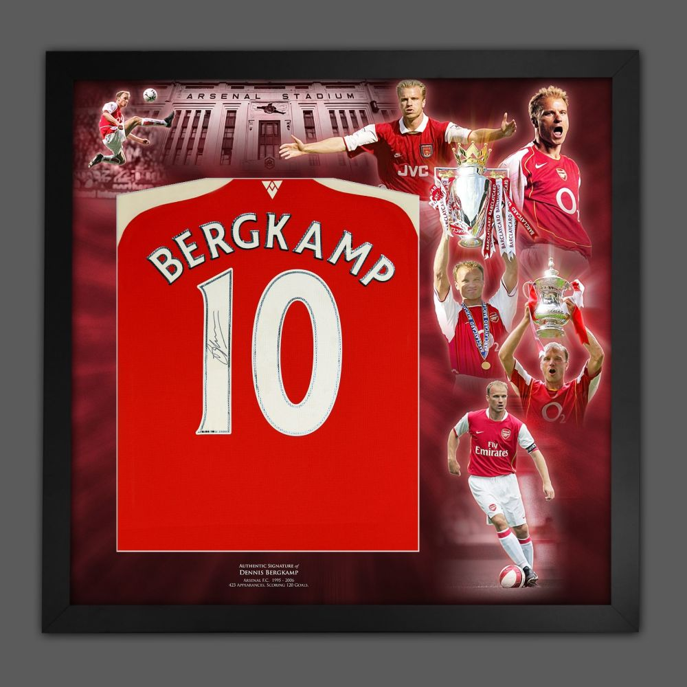 Dennis Bergkamp Signed  Arsenal Football shirt In A Framed Picture Mount
