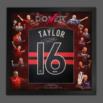 Phil Taylor Back Hand Signed New 2021 Official Darts Shirt In A  Framed Picture Mount Display