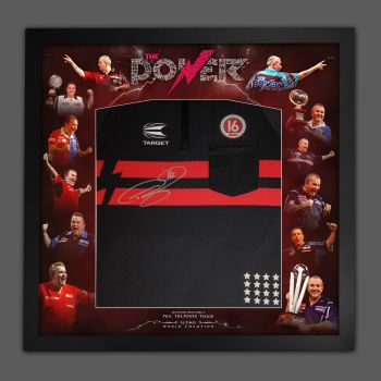 Phil Taylor Front Hand Signed New 2021 Official Darts Shirt In A  Framed Picture Mount Display